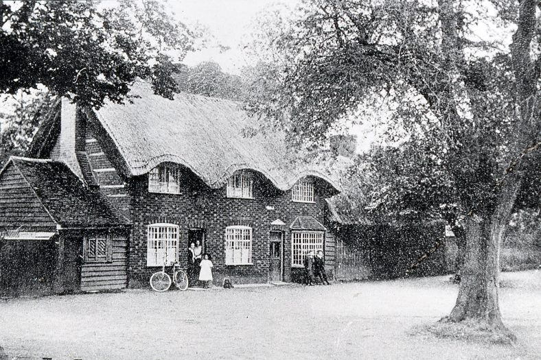 This thatched cottage just north of Bowers House appears in many photos of the Cock Pond - Credit LHS DS-B 1.8