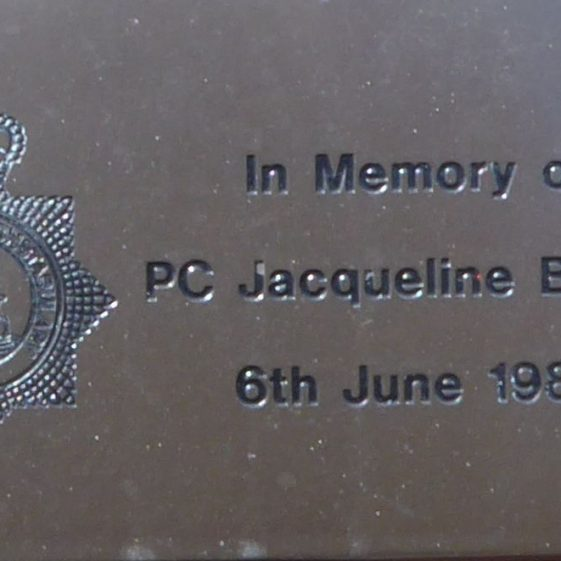 PC Jacqueline Brown, by Police Station, Bowers Way.  In memory of the victim of shooting from the Iranian Embassy.