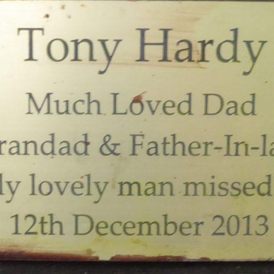Tony Hardy, Westfield Cemetery