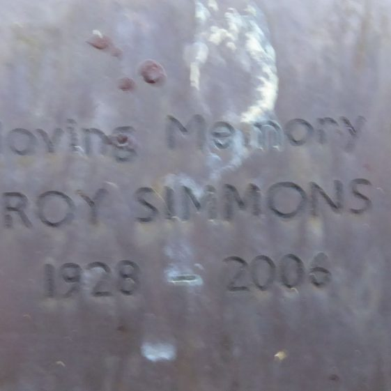 Roy Simmons, Westfield Cemetery
