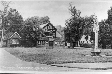 The Old Public Hall, with 1937 Harpenden sign on the Common | LHS archives - cat.no. HC 03