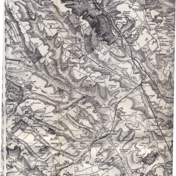 1. This OS map of 1890 shows the contours marking the head of the valley at Zouches Farm in the top left-hand corner | Photo of map, RR