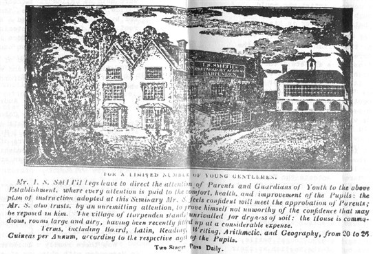 (2) An advertisement for Mr Smith's Academy, Harpenden - possibly Island cottage, Church Green, 1830s | LHS archives - P'copy from a journal in the Bodleian Library, Oxford