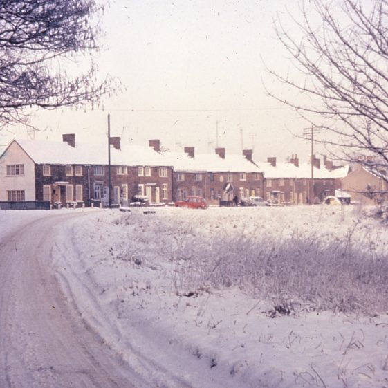 Pimlico cottages in the snow - 1963 by B Norman.  Click on the photo for a page about Pimlico | Cat no LHS digitised slides 101