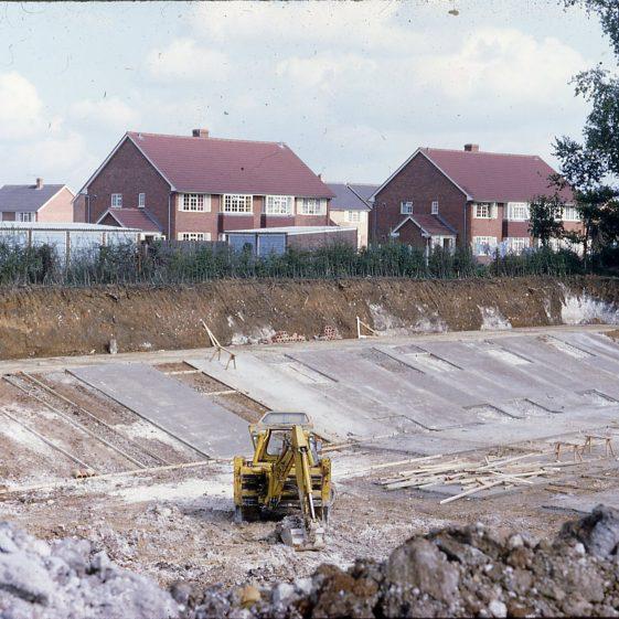 3m gal Reservoir under construction, Granary Lane - 1967 | Cat no LHS digitised slides 131