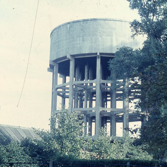 Harpenden water works - old and new towers - 1967 | Cat no LHS digitised slides 132
