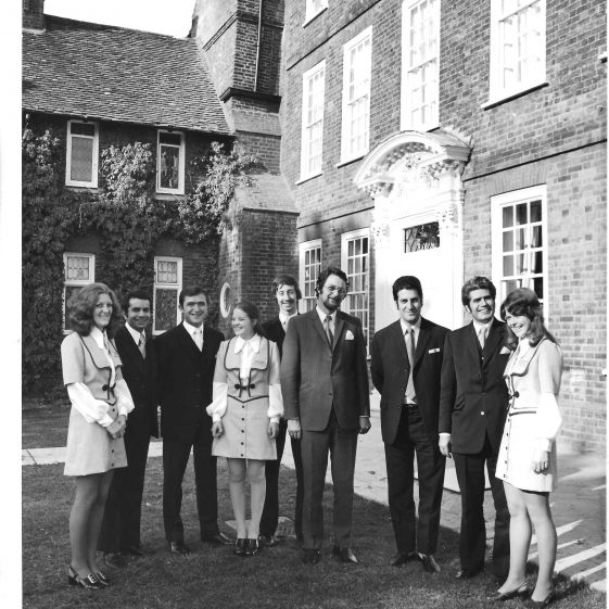 23. Celebrating the opening of Moat House Hotel - staff outside the f   Welcombe album - LHS archives
