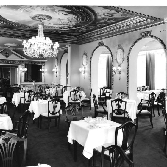 26. Moat House Hotel - Georgian dining room opening into extension, 1970s   LHS archives - Welcombe-HHH album
