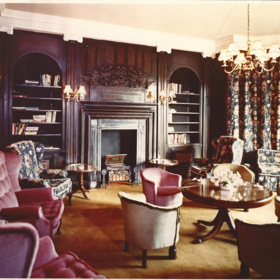 28. Moat House Hotel - County Bar on first floor, SE corner, 1970s. Note timber outer frame of fireplace   LHS archives - Welcombe-HHH album