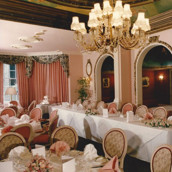 30. The Georgian Room, set out for a wedding reception   Welcombe album - LHS archives