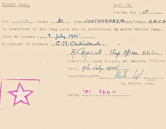 Belsen Camp pass for Cornelia Clutterbuck, issued on 8 July 1945 | Vol.1 - inner back cover