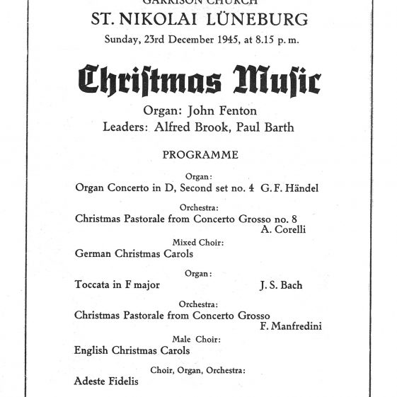Programme for Christmas Music at the Garrison Church, St. Nikolai Luneburg, 23 December 1945 | Vol.2 - page 10