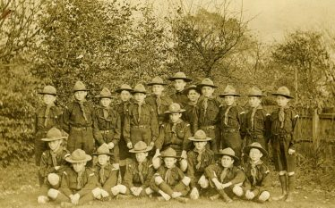 The 3rd Harpenden Scout Troop in 1912. The Scoutmaster (centre) is probably Mr E C Bates. Frank Popplewell, Assistant SM, is the tall lad in the back row. | Bill Culley's collection