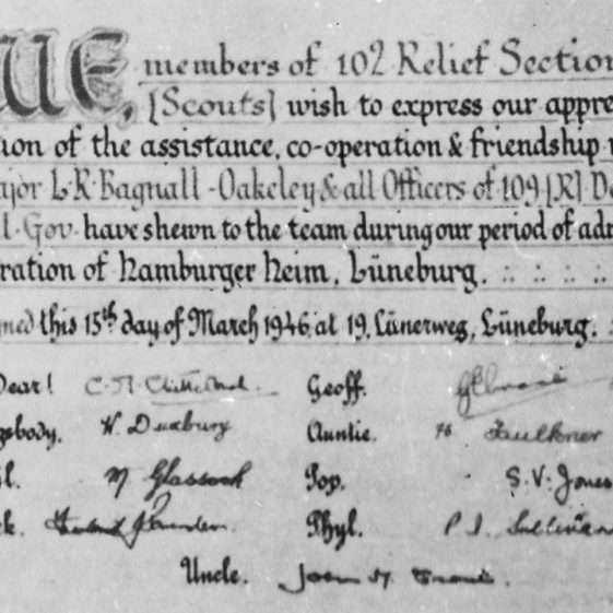 Certificate of thanks to 109 (R) Detachment of the Military Government - signed on 15 March 1946, by the Scouts' alongside their nick-names.  Cornelia was known as