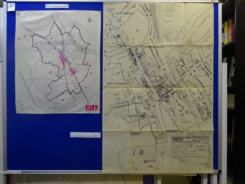 A tracing showing population clusters in 1877 - and a 1985 map of Harpenden Conservation Area