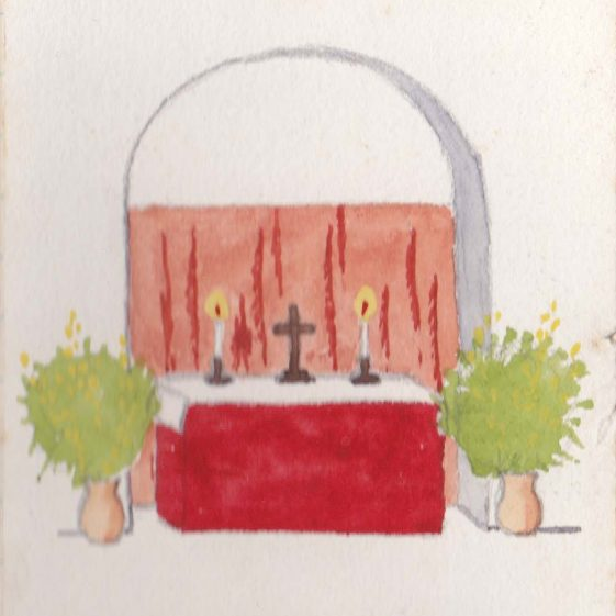 Watercolour sketch by Cornelia Clutterbuck of the simple chapel beneath the YMCA Canteen - Luneburg? | Vol.2