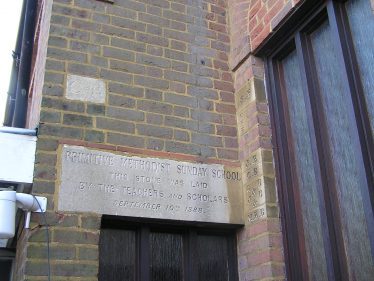 The stone commemorating the building of the Sunday school in 1888 | David Noble