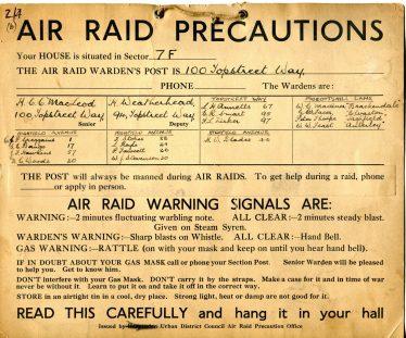 Air Raid Precautions notice | Harpenden Local History Society's Archives