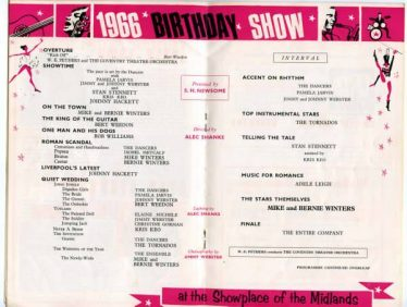 Programme for 1966 Birthday Show, Coventry, Alec Shanks: director & lighting; costumes by Alec Shanks Costumes Ltd   www.rhis.co.uk/huxley/newtornados3.html