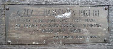 Plaque on seat near the Baa Lamb Trees, Harpenden Common | Gavin Ross, October 2013