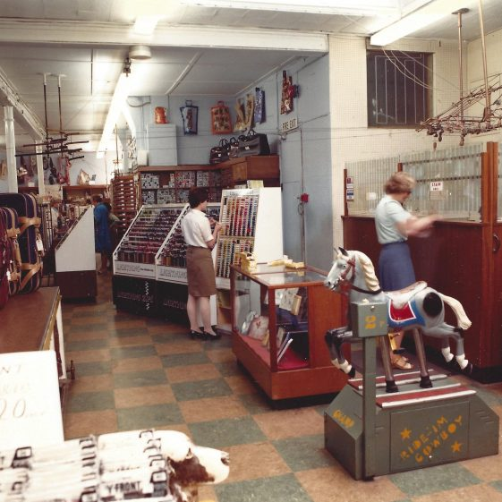 Interior of Anscombe's - haberdashery department with cash-desk | LHS archives