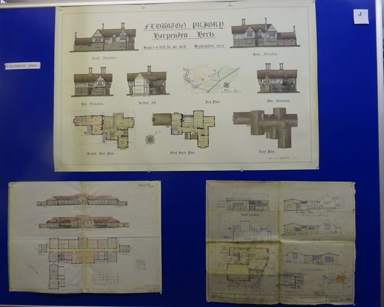 Elevations and ground plans of Flowton Priory by Gordon Coburn, 1935, after the house had been re-erected on West Common; elevations and ground plan for Manland Primary School 1938 and George Herring's plans for St Nicholas Church Hall, 1954