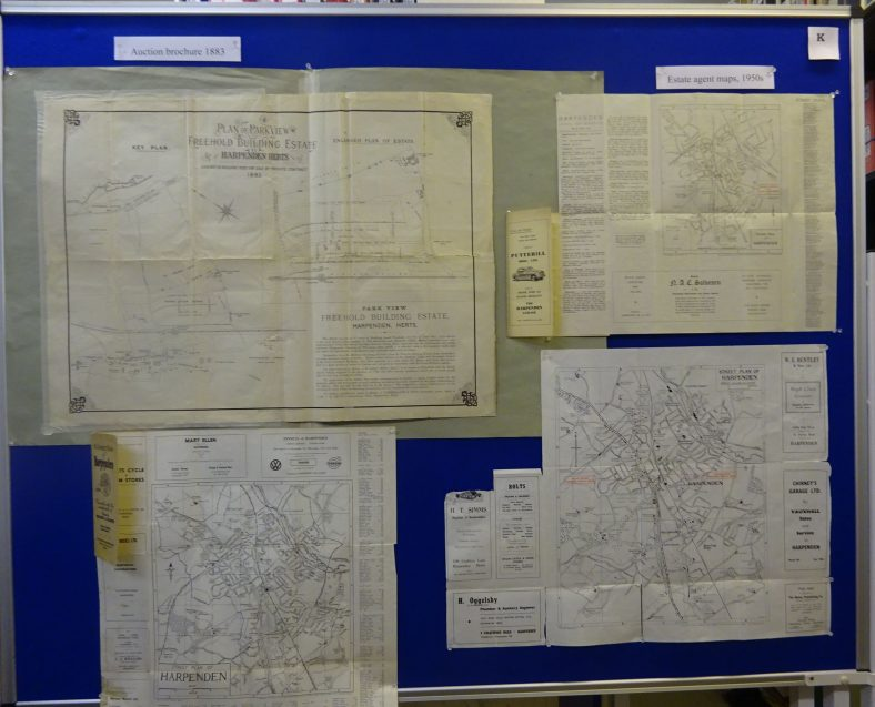 Auction plans, including Parkview Estate in 1883, and estate agents' maps, with local advertising.