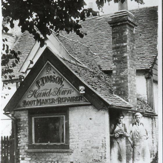 Timson's cobbler's shop in the High St -1920's? | Cat no Slides B 1.13