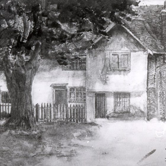 Lines cottage and forge - 1908 - sketch by E H V St Clair | Cat no Slides B 1.14