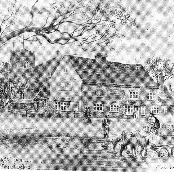 Pond and Cock Inn in High Street -1890 - sketch by Ern Vickers | Cat no Slides B 1.23