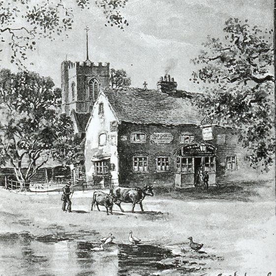High Street, Cock Inn pond -1880 - by F G Kitton | Cat no Slides B 1.24