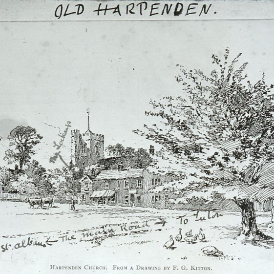 Church Green by F G Kitton, annotated by Edwin Grey | Cat no Slides B 1.25