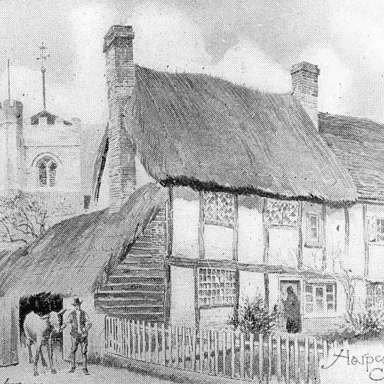 Church cottages | Sketch, c.1900; Slide cat.no. B 1.34