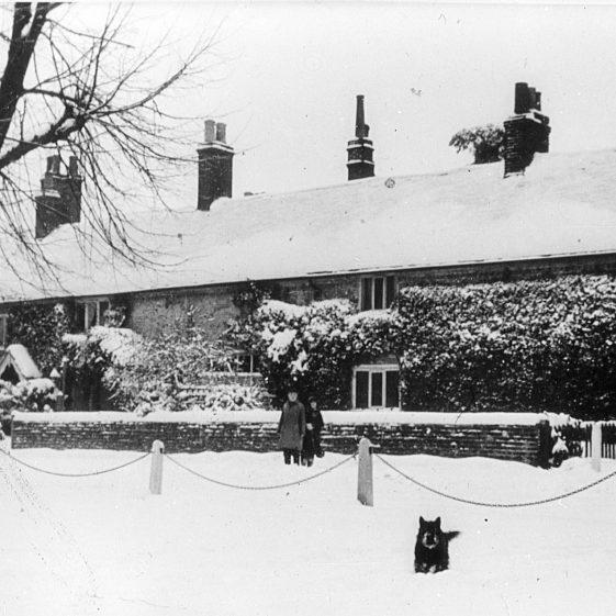 Batchelors' Row Church Green in snow - 1920's | Cat no Slides B 1.36