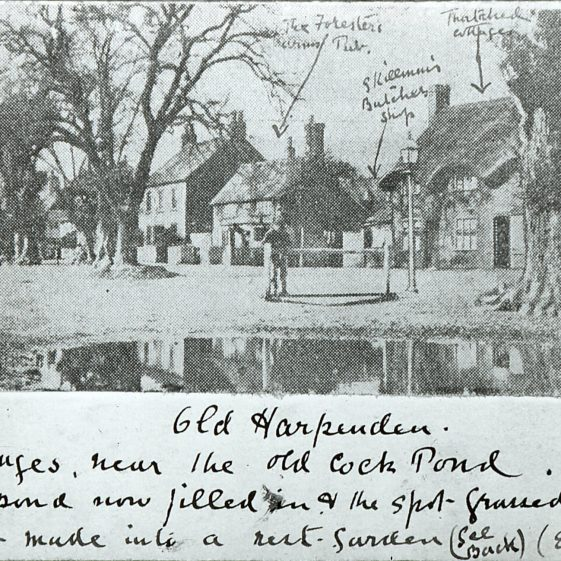 Pond and thatched cottage - annotated by Edwin Grey | Cat no Slides B 1.6