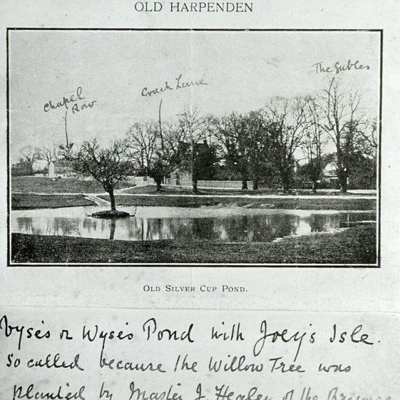 Vyse's or Wyes's pond (Silver Cup pond) - 1890's, annotated by Edwin Grey | LHS archive, cat.no. B 1.63