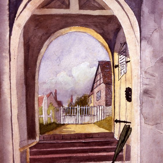 St Nicholas Church - View through church porch - 1880's | Artist unknown - reproduction in Old Harpenden collection, LHS archives Cat. no. B 2.107