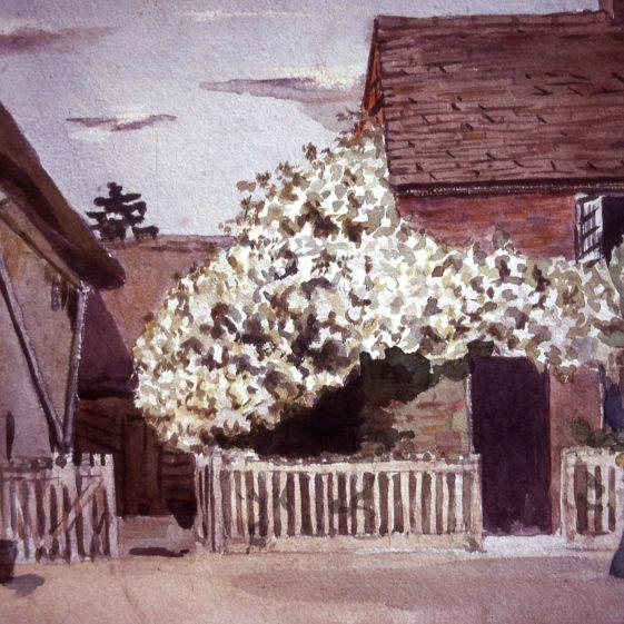 Church cottages - 1920's | Watercolour - artist unknown; Slides cat.no. B 2.108