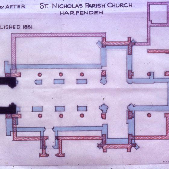 Plan of St Nicholas Church by E P Wilson - post 1962 | Cat no Slides B 2.122
