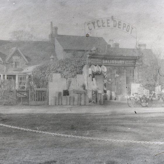 Henry Salisbury's cycle depot, Leyton Road - 1910.  Henry Salisbury built Kingston House at 6 High Street in 1912   Cat no Slides B 2.34