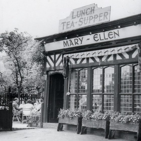 Mary-Ellen's tea shop, Leyton Road - 1950, on the site of Salisbury's Cycle Depot in previous picture   Cat no Slides B 2.35