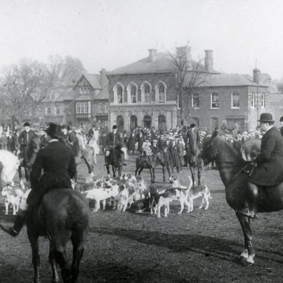 Hunt meet on the Common near Railway Hotel - 1900's | LHS archive, cat.no. B 2.42