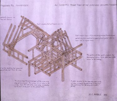 Isometric drawing of remaining roof timbers   Revd Norman Mable