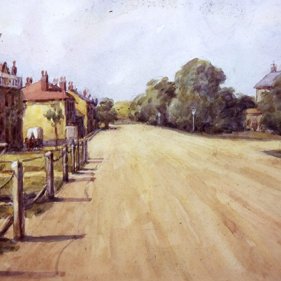 High Street looking north - 1890's | Watercolour by Ernest Hesseldine; Slides cat.no B 2.54
