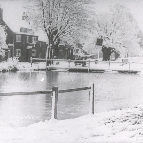 Cock Pond looking SE-winter view, with Cross Keys - 1900's | Cat no Slides B 2.58