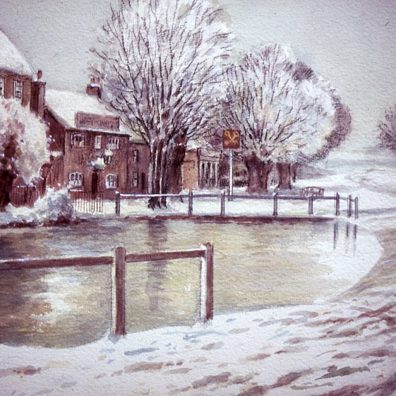 Cock Pond and Cross Keys pub, as in winter - 1900's | Watercolour by Ernest Hasseldine; Slides cat. no B 2.59