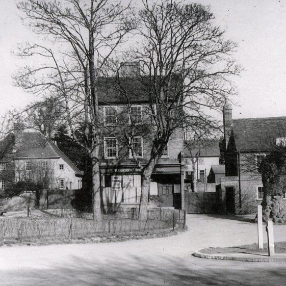 Bowers House, pond fenced off, Pollards School of Music and Cross Keys pub - 1930 | Cat no Slides B 2.62