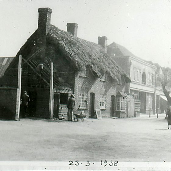 Demolition of 43-49 High St (Thatched Cottage, north of Bowers Parade - 23/3/1938 | Cat no Slides B 2.63