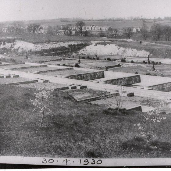 Construction of Sewage Works - view to Batford Road - 30 April 1930   Cat no Slides B 2.81