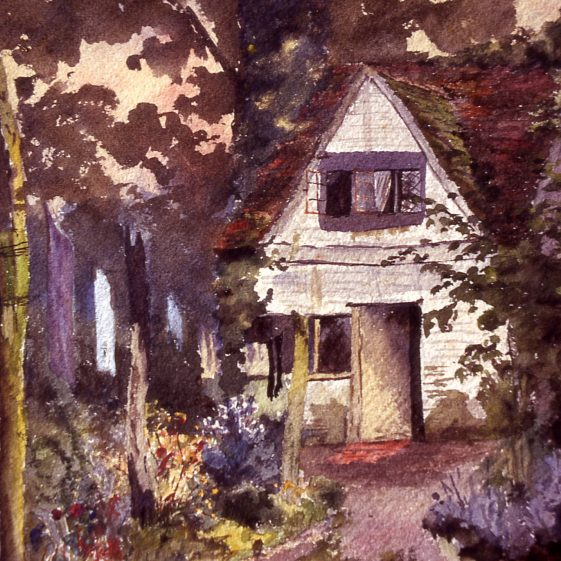Betsy Peacock's cottage Hatching Green - watercolour by C Talbot | Cat no Slides B 2.90